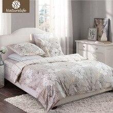 Sistema Del lecho Del Algodón 4 unids reina naturelife @ tamaño flores impreso bedsheet funda de almohada funda nórdica edredón juego de cama ropa de cama ropa de cama