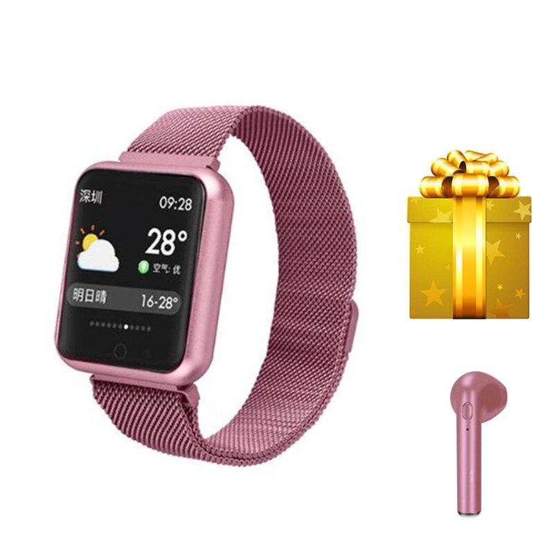 Rose gold smart Electronic health bracelet debardeur sport femme fitness tracker ip68 waterproof blood pressure watch+earphone
