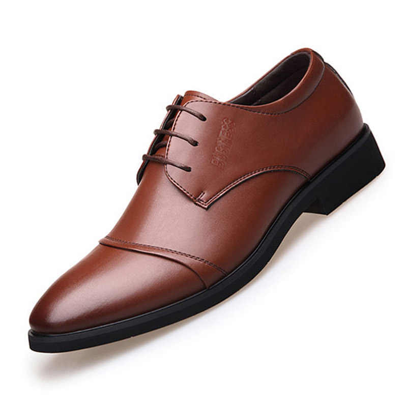 100075a2bd7 ... Men Dress Shoes Formal Business Work Soft Office Patent Leather Pointed  Toe for Men s Male Oxford