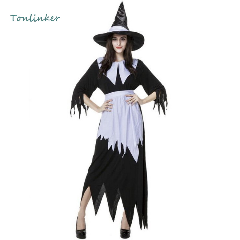 Halloween Witch Costume Adult Women Black White Carnival Stage Cosplay Party Fancy Dress