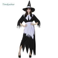 Halloween Witch Costume Adult Women Black White Witch Costume Halloween Carnival Stage Cosplay Party Fancy Dress цены онлайн
