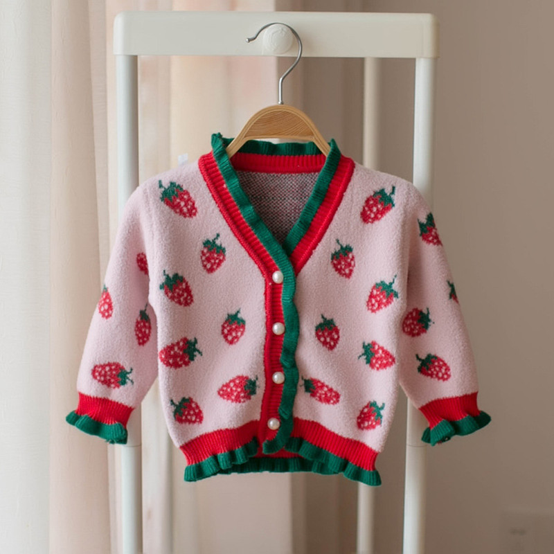 Baby Girls Strawberry Sweaters Winter New Korean Style Kids Clothes V-neck Ruched Chic Coats Children Knitted Cardigan Sweater