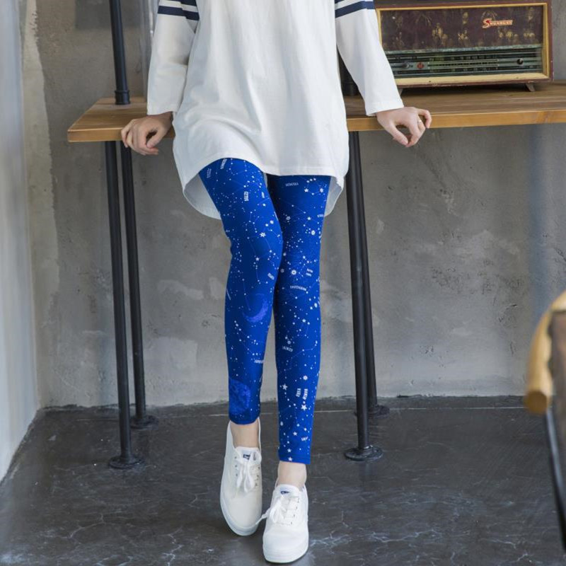 ARDLTME New 2019 Starry sky Flower Printed   Legging   Fashion Slim Women   leggings   Thin High Elastic Cotton Causal Fitness Pants