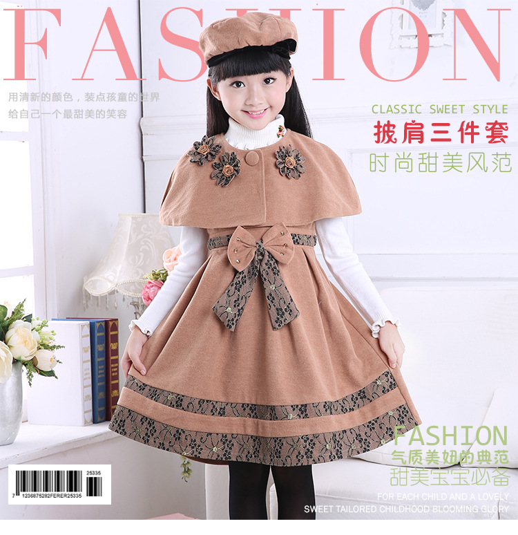 3-14 ages girls autumn fshion woolen clothing set 3 pcs dress + cloak + hat kids clothes for spring writing for literacy for ages 7 8