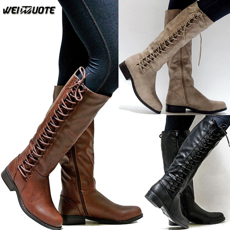 Weinuote Winter Womens Outdoor Riding Boots Ladies Sexy Low Heel Leather Boots Lace Up -5570