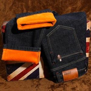 Image 3 - Vaqueros de invierno para hombre, pantalones vaqueros gruesos elásticos informales de negocios, ajustados, color negro, azul, de talla grande 28 40