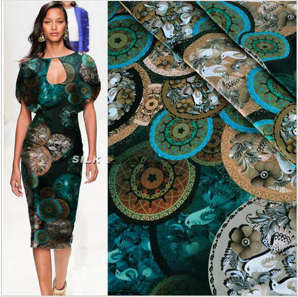 2016 New Arrival Classical Style Real Silk Cheongsam Dress Fabric Dress Fabric Printing Stretch Satin Ancient Green Disc