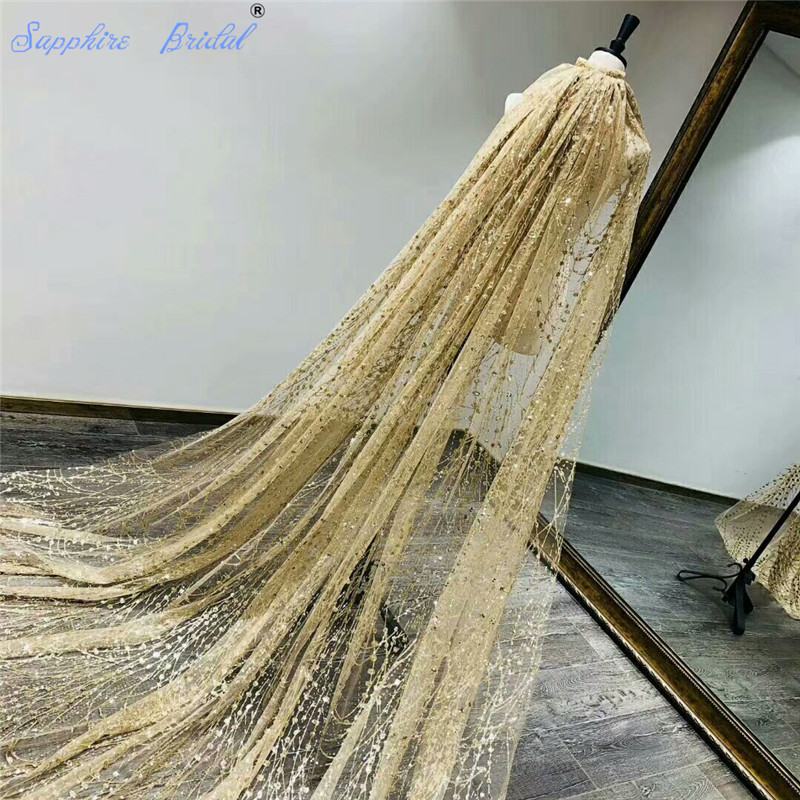 Sapphire Bridal 100 Real Photos Gold Veil Bling Bling Lace Shining Long Cathedral Length Wedding Veil