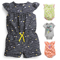 Quality 100% Cotton Summer Newborn Baby Girls Clothing Clothes Creepers Jumpsuit Short Sleeve Romper Baby Girls Brand Ropa Bebe