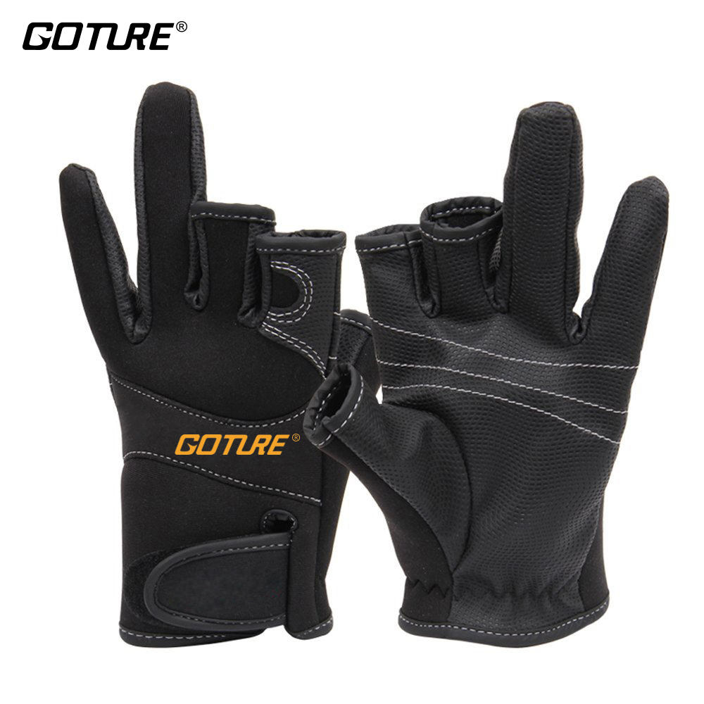 Fingerless gloves climbing - Goture Anti Slip Fishing Gloves Three Fingerless Soft And Breathable Gloves For Fishing Cycling Climbing Outdoor Sports