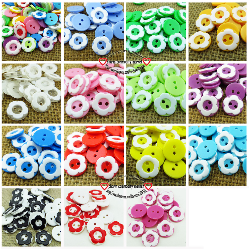 100PCS 12 5MM Flower shape mixed colors Dyed resin buttons coat swearter kids button sewing decorative clothes accessories P 071 in Buttons from Home Garden