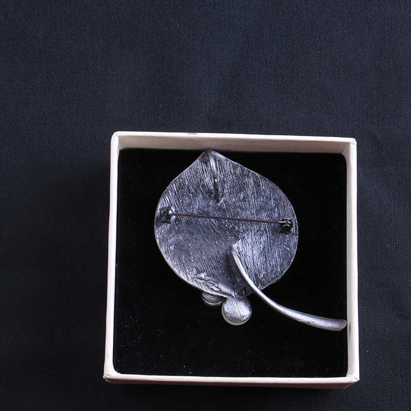 Elegan Lotus Daun Bros Pin Bros untuk Wanita Bros Mutiara Batu Alam Perak Kuno Safety Pin Syal Pakaian Perhiasan
