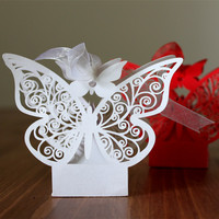 50pcs Butterfly Wedding Laser Cut Candy Box With Ribbon Baby Shower Gift For Guests Birthday Christmas