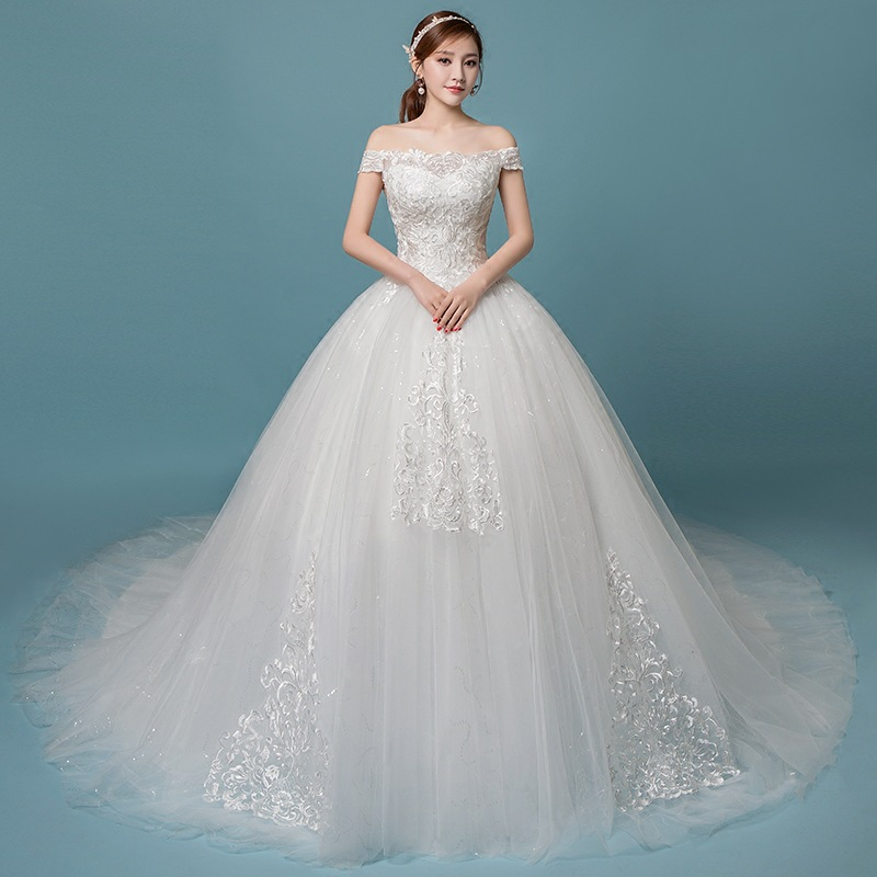 2019 Boat Neck Off The Shoulder Lace Puffy Wedding Dress