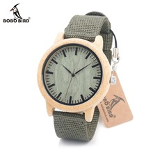 BOBO BIRD D11D12 Wood Bamboo Watch for Mens Womens Brand Designer Watches Soft Nylon Band Carton