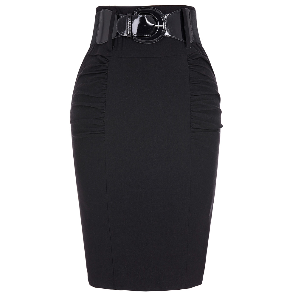 a88b14689a US $13.2 49% OFF|2018 Pencil Skirts Womens Summer Autumn Business Work  Office Casual Skirt With Belt High Waist Black Grey Bodycon Slim Fit  Skirt-in ...
