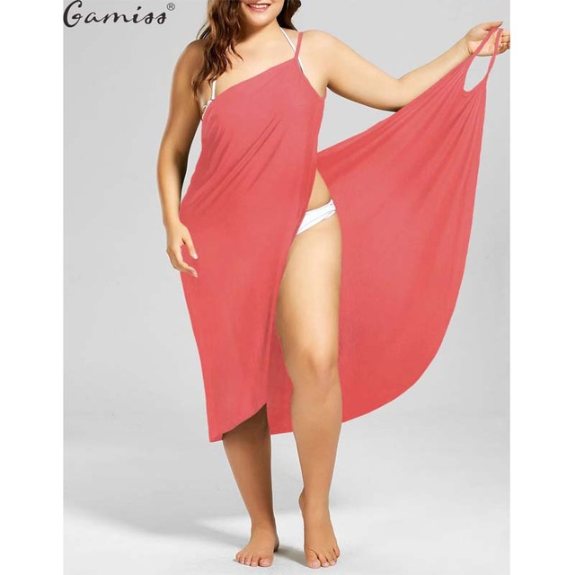 Plus Size 5XL Casual Beach Wrap Dress Solid Color Spaghetti Straps Cami Dress For Holiday Swimwear Cover