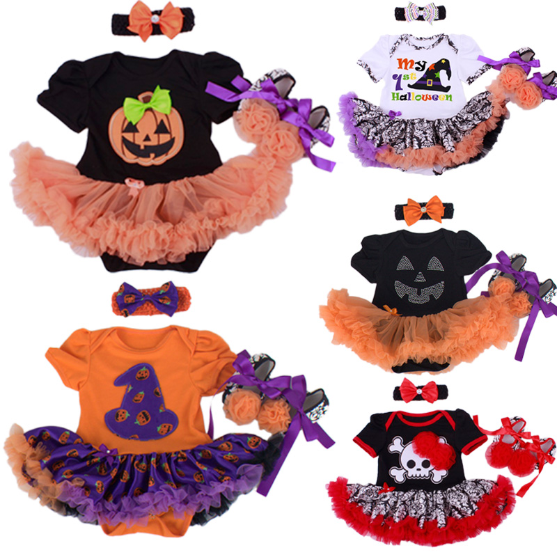 Halloween Baby Girl Clothing Sets Pumpkin Romper Dress Jumpersuit+Headband+Shoes 3pcs Suit Bebe Infant Festival Costumes|baby girls clothing|romper dress|baby girl clothing set - title=