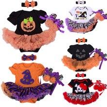 Halloween Baby Girl Clothing Sets Pumpkin Romper Dress Jumpersuit+Headband+Shoes 3pcs Suit Bebe Infant Festival Costumes