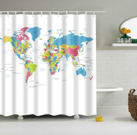 LFH Creative Stylish World Map Bath Shower Curtain With 12 White Plastic C-type Hook Bath Products Non Toxic Eco-Friendly