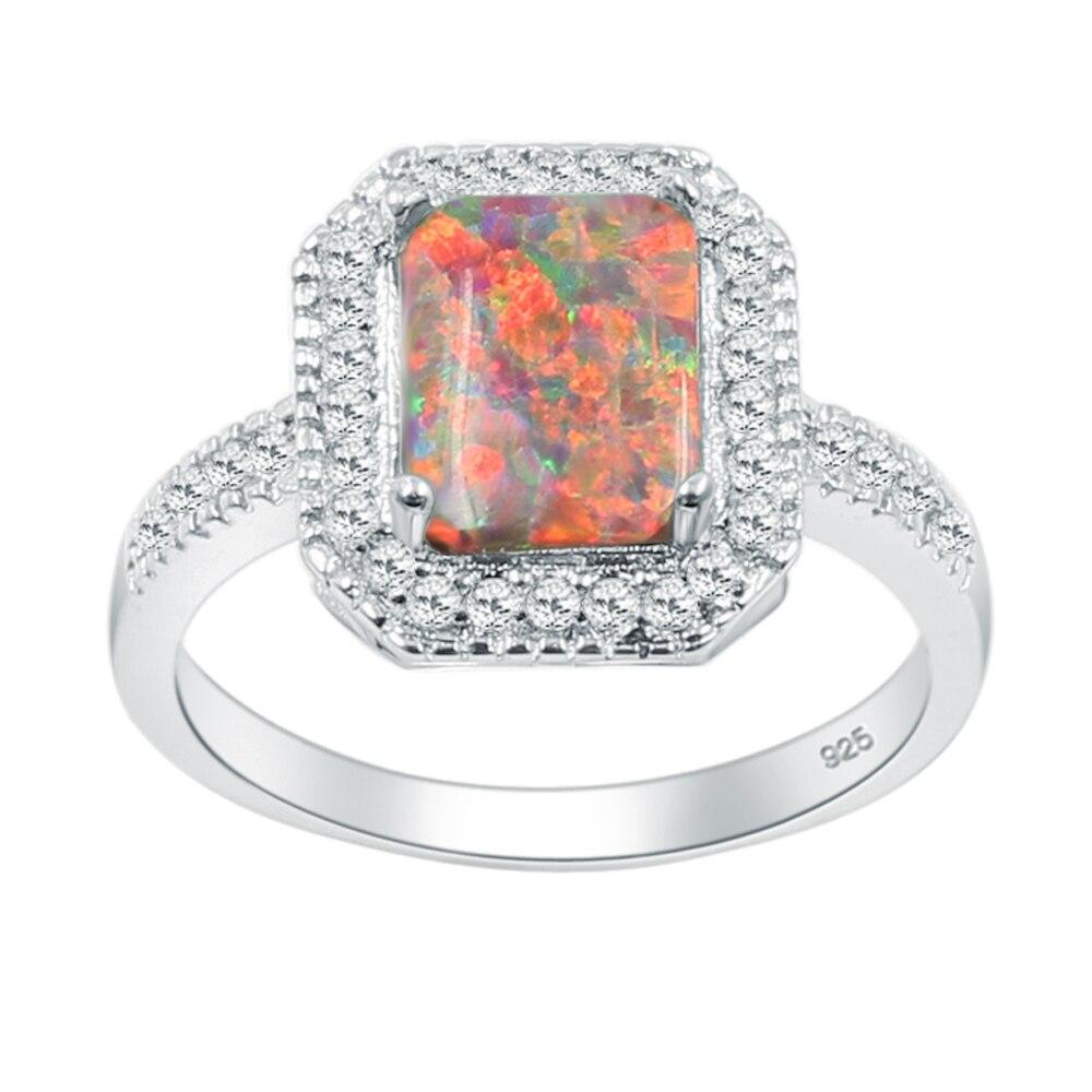 Свадебные подарки серебро 925 обещание кольцо Whitetopaz мистический опал Jewelry Размеры 8 RSB2486D Бесплатная доставка
