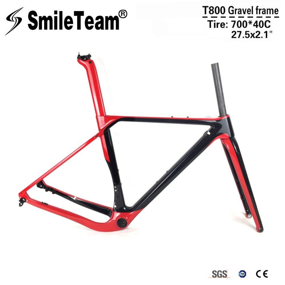 SmileTeam Ghiaia Telai di Biciclette In Carbonio T800 Carbonio Freni A Disco Telaio Ciclocross Assale 142/135mm Carbonio MTB Della Bici Della Strada Frameset