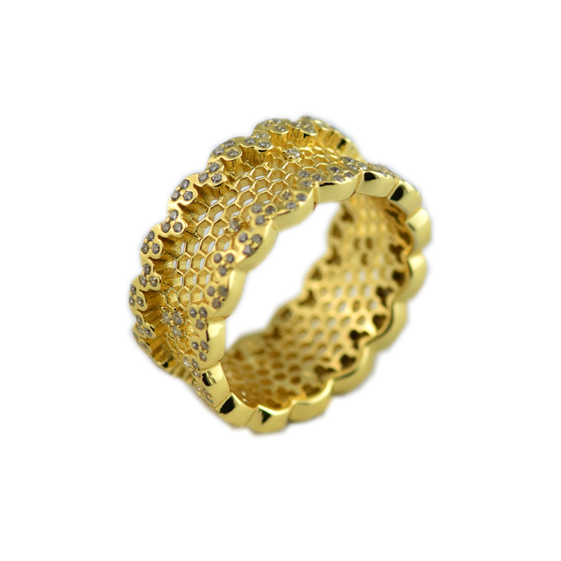 #50-58 Shine Ring 925 Sterling Silver Honeycomb Lace Wedding Rings for Women Bague Femme Men Jewelry Free Shipping