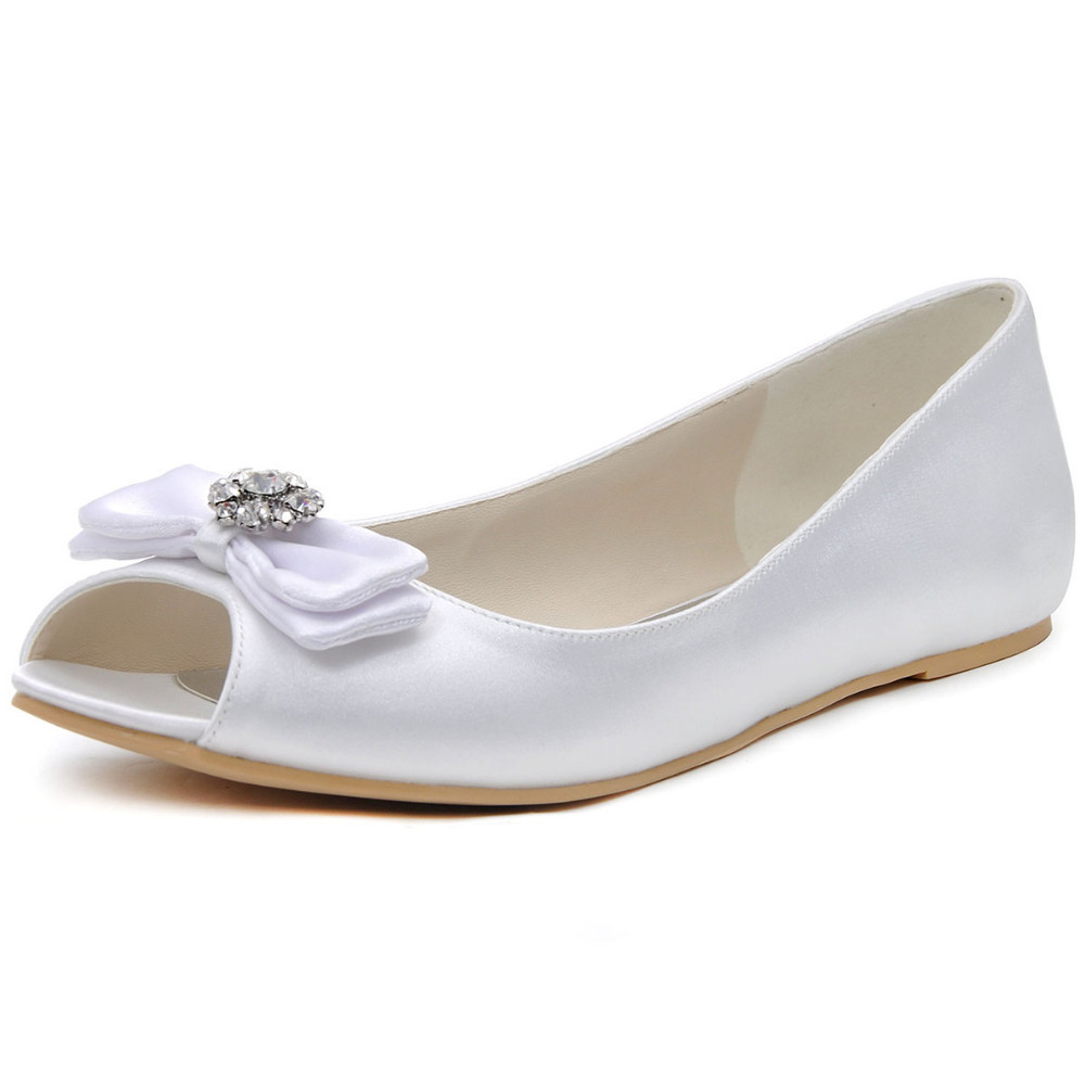 Woman wedding flats EP11102 White Ivory Peep Toe Bow Comfort crystal ... dced9d016ed8