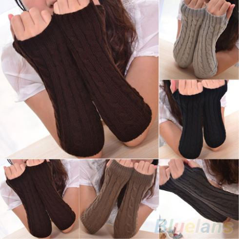 Womens Mens Long Knitted Crochet Fingerless Braided Arm Warmer Gloves 1PCL