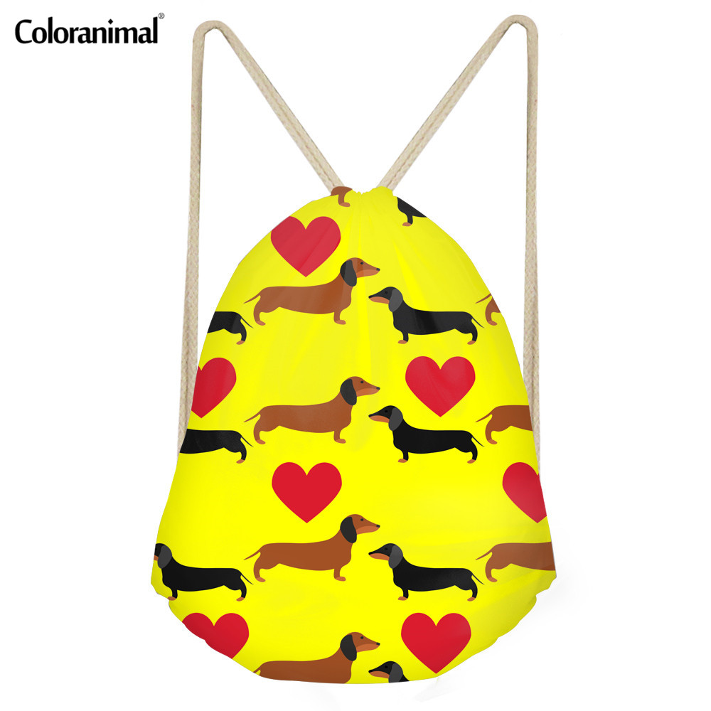 Coloranimal Fashion Drawstring Bag Cute Pet Dog Dachshund Dog Print Travel Softback Men's Women's Shopping Beach School Backpack