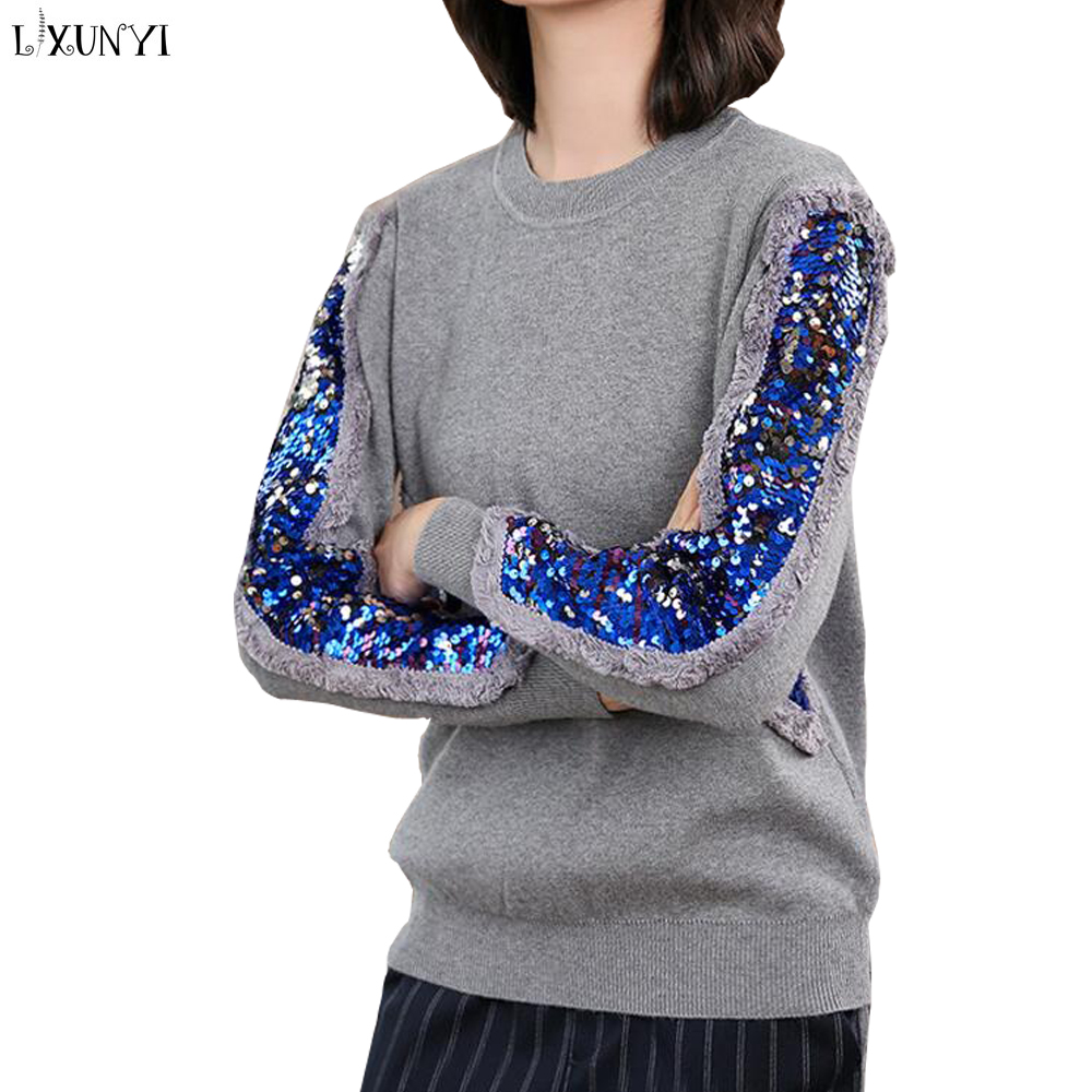 LXUNYI Spring Autumn Women Sequin Sweater Female Patchwork Knitted Pullover Tops O Neck Long Sleeve Sweeet Pullovers Fashion