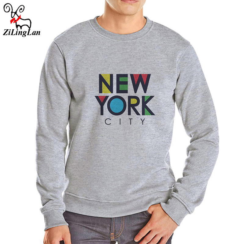 ZiLingLan New York Printed Men Hoodies Casual Thick Warm O-neck Cotton Blend Fleece Men Swearshirts Fashion Men Long Sleeve ...