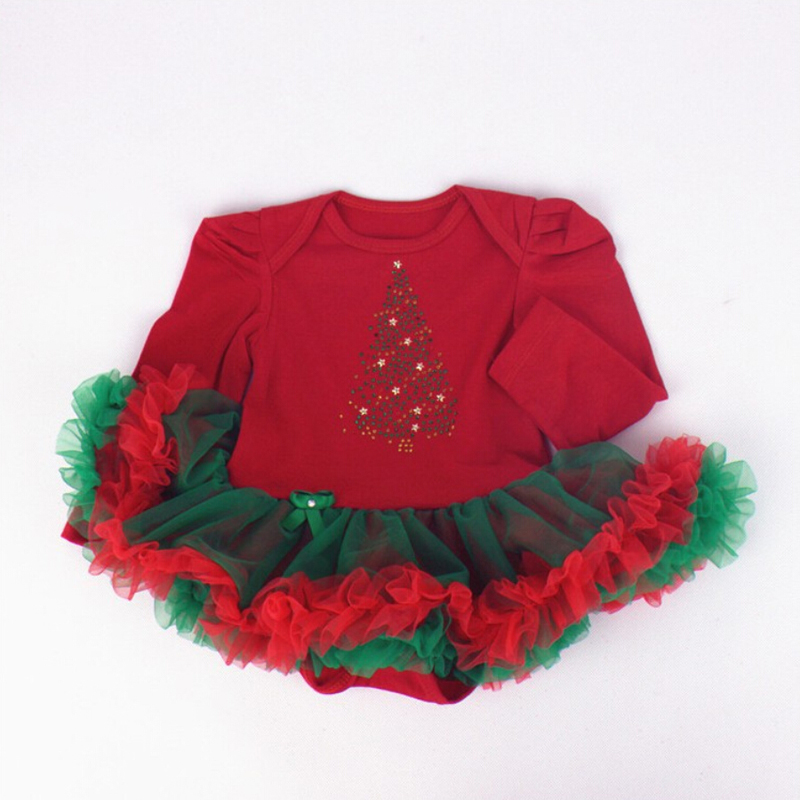 1PC Red Tulle Lace Romper Bowtie Baby Girls Christmas Outfit Tree Long Sleeve Tutu Dress for 0-12months Free Shipping