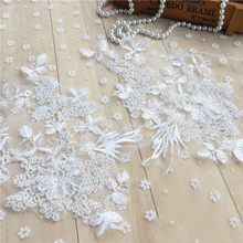 10Pieces Beads Floral Cloth Lace Appliques Embroidery Mesh Trim Collar Flower Accessories