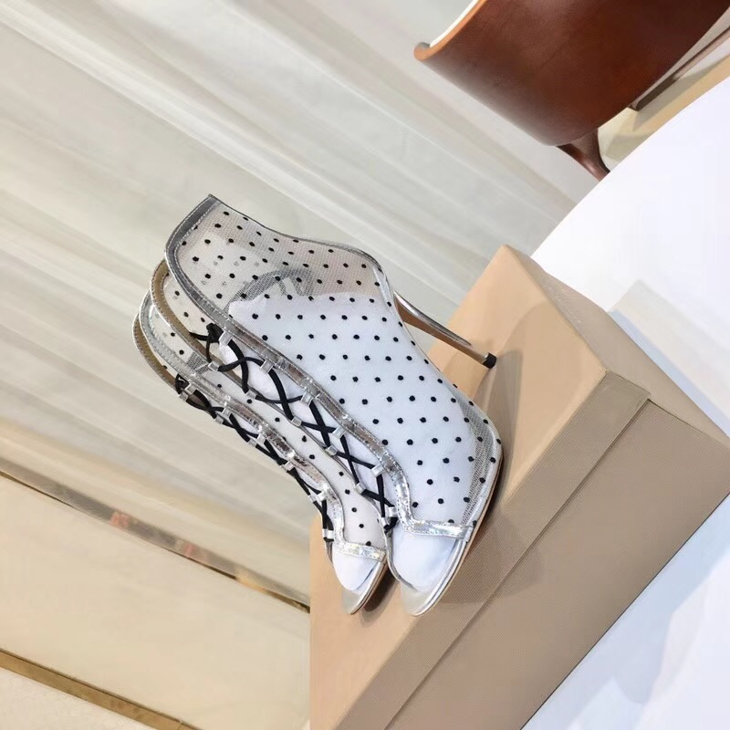 2018 nieuwe collectie zomer lace up mesh hoge hakken peep toe lady - Damesschoenen