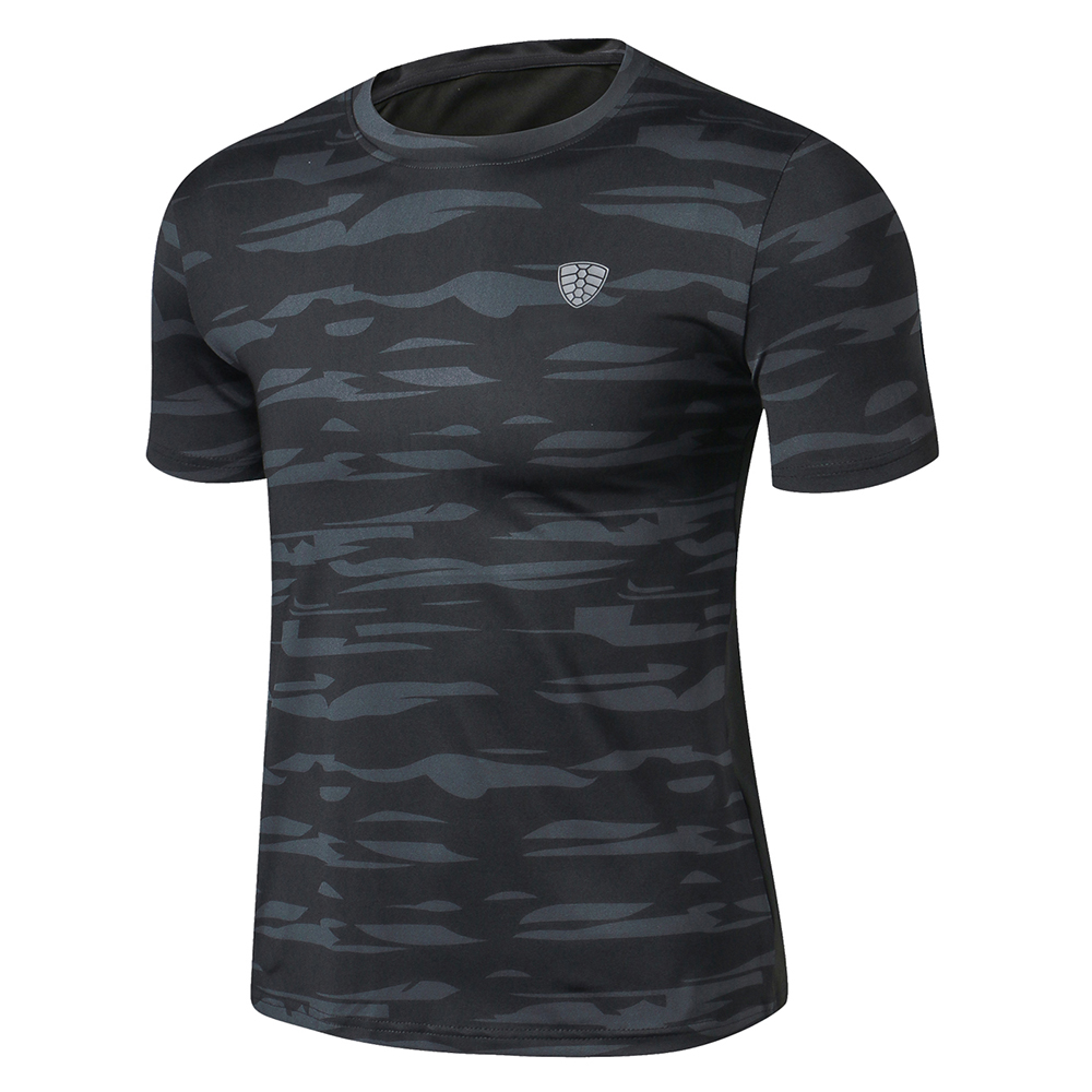 Large Size Man Outdoor Trekking Hiking T Shirts Hunting Fishing Military Tactical T-shirt Camo Army Quick Dry Sport Gym Shirt