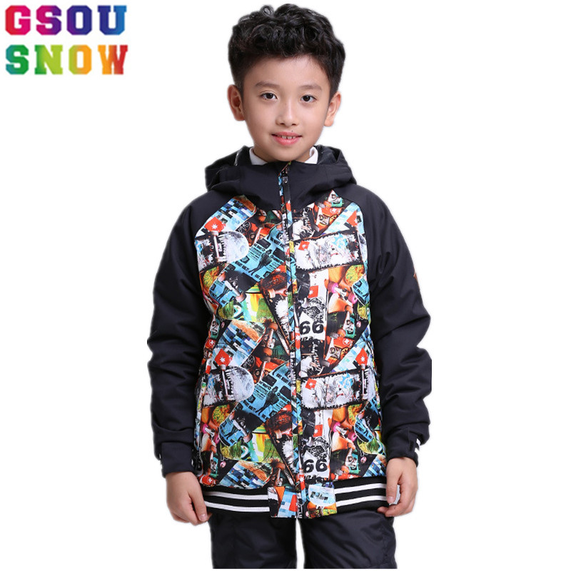 GSOU SNOW Kids Ski Jacket Winter Outdoor Children Boys Colorful Snowboard Jacket Windproof Waterproof Thermal Snow Coats suit