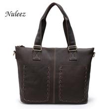 Nuleez Casual Large European Women Leather Handbag Vintage Genuine Leather Shoulder Strap Bag Ladies Big Weekend Bags 1208