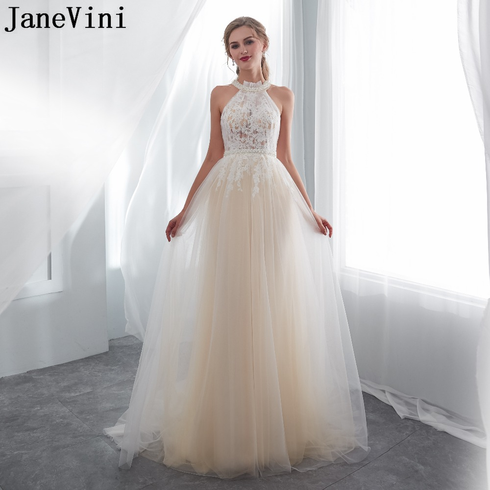 JaneVini Elegant Champagne Tulle   Bridesmaid     Dresses   with Lace Appliques Pearls O Neck Button Back A Line Prom   Dress   Sweep Train