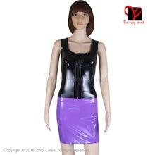 Sexy Pink Black Latex separate suit Gummi Two Piece set Vest Tank top Rubber skirt Dress