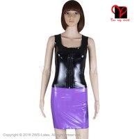 Sexy Pink Black Latex separate suit Gummi Two Piece set Vest Tank top Rubber skirt Dress shirt Playsuit catsuit plus size TZ 007