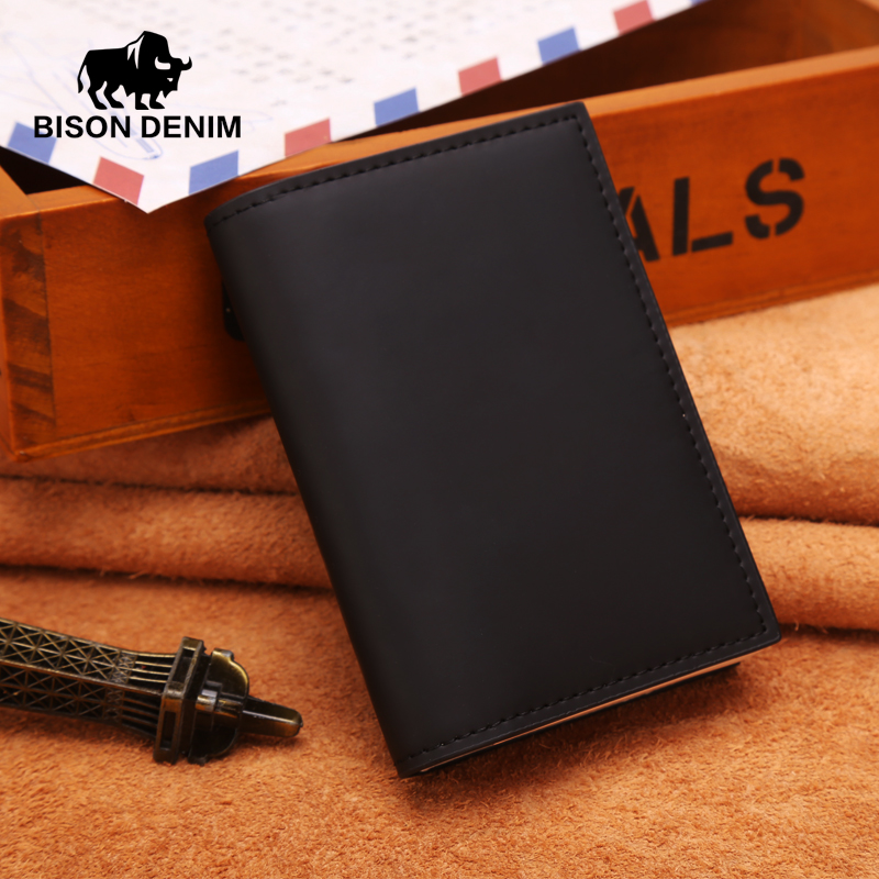 цена BISON DENIM glossy Genuine Leather men wallets,Purse Carteira Masculina Mens Purse Wallet Card holder Coins Purses W4367-4B онлайн в 2017 году