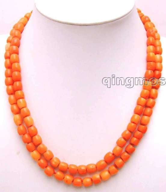 "SALE 8-8.5mm Thick Slice Pink High quality GENUINE Natural Coral 18-19"" 2 strands Necklace-5775 wholesale/retail Free ship"