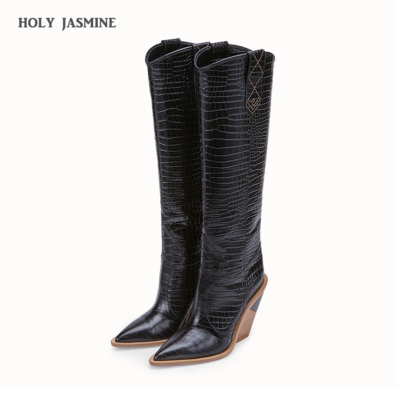 2019 New brand microfiber leather women knee high boots sexy pointed toe western cowboy boots women mid-calf chunky wedge boots2019 New brand microfiber leather women knee high boots sexy pointed toe western cowboy boots women mid-calf chunky wedge boots