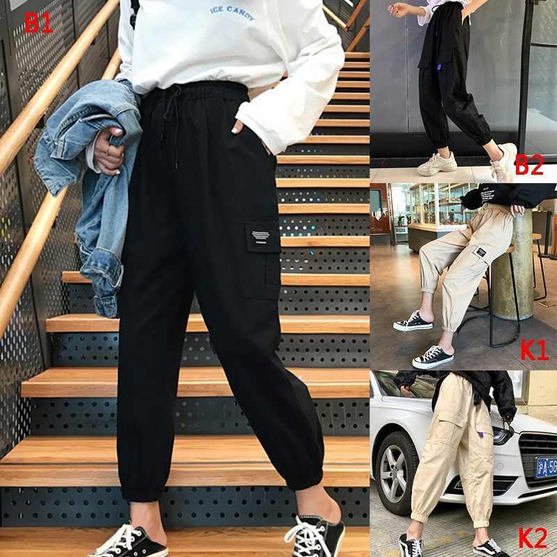 Harajuku primavera streetwear senhoras calças masculinas casuais sólido grande bolso calças de cintura alta calças soltas pantalones mujer