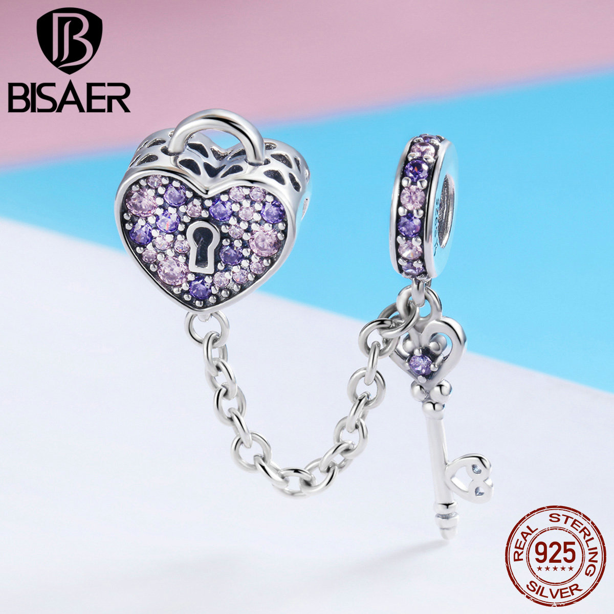 BISAER Real 925 Sterling Silver Key Lock of Heart Charms Pink CZ Heart Beads Fit for Women Bracelet DIY Jewelry Making ECC772 bisaer 7pcs 925 sterling silver heart key and locket heart pendant brand charm bracelet for women wedding silver bangle gxb811