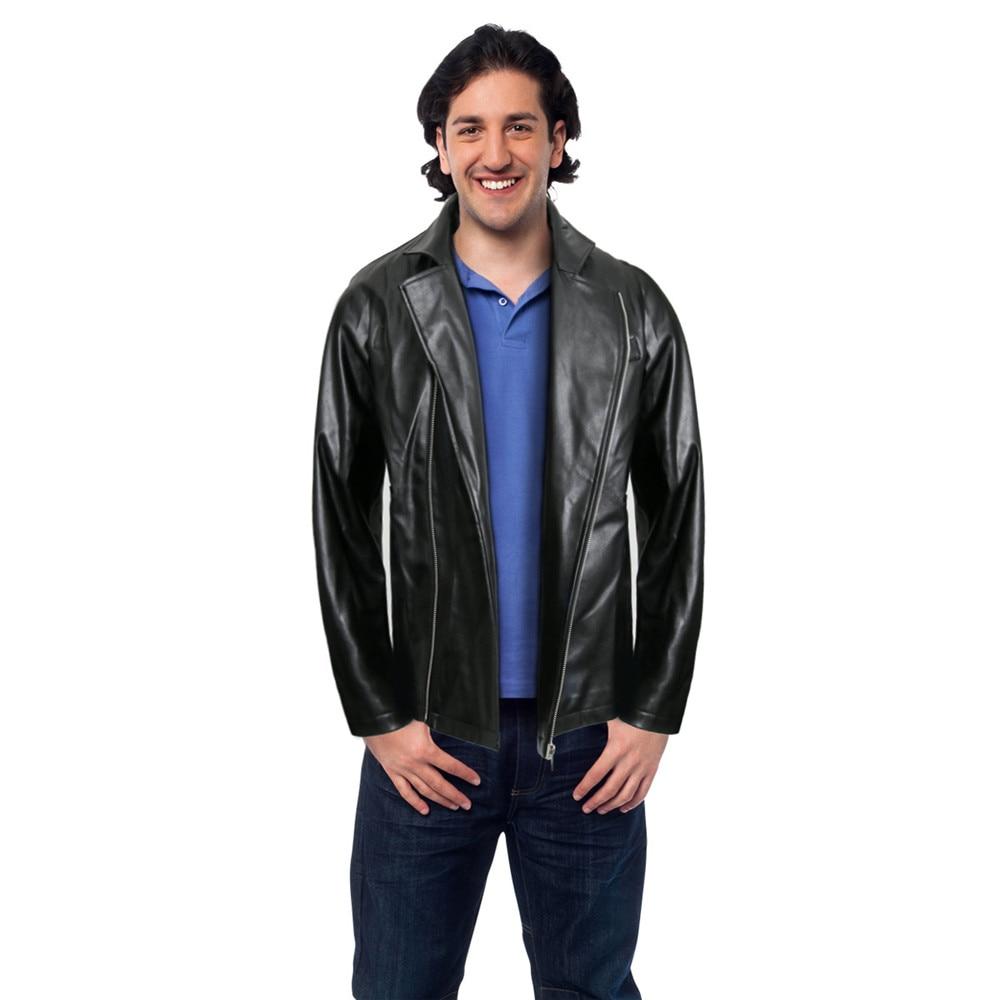 Takerlama Adult 50s Grease T-BIRDS Jacket Vintage Black Faux Leather Moto Biker Short Coat Jacket Halloween Fancy Dress Cosplay