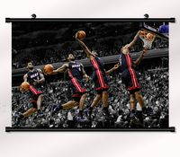 Lebron James Basketball Star Fabric poster with wall scroll 22 x 16 Decor 103