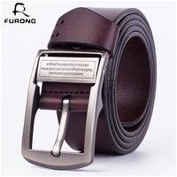 FURONG Genuine Leather Men Belts Modern Male Waist Belt Fashion Pin Buckle Black Brown Color Designer Real Cow Leather Belt