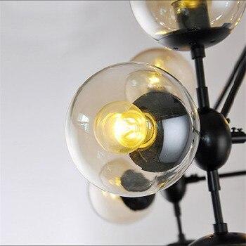Modern Pendant Light Restaurant Lighting Bar Amber Glass Black Industr  Lights DNA Molecular Vintage Ceiling Lamp Kitchen Lamps